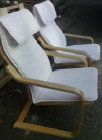 2 bent birch armchairs made by IKEA in very good condition. Layer-glued bent birch frame. Plus clean fabric.  Height: 100 cm  Width: 68 cm  Depth: 82 cm  Seat width: 56 cm  Seat depth: 50 cm  Seat height: 42 cm. Price: £70