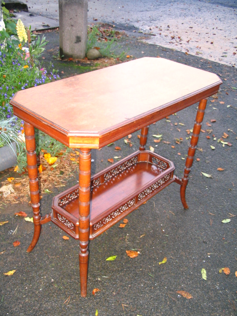 Antique side table with magazine rack, occasional table, 1900 Dimensions around cm: 60L x 38W x 68H  Price: £150