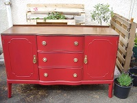 Vintage mid-20th century red-chalk painted distressed sideboard in Georgian style. Shabby chic. Measures approx. 38 inches tall, 54 inches wide and 20-1/2 inches depth. Price: £280